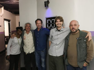 Fred Greenhalgh and William Dufris on set with David Duchovny and the Crew at Music Works NYC